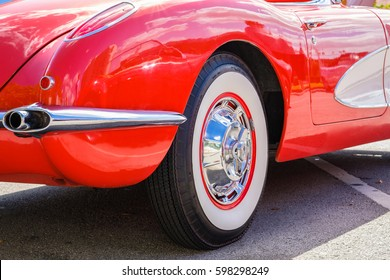 Miami, Florida USA - March 5, 2017: Close up view of the back end of a beautifully restored 1958 Chevrolet Corvette Roadster at a public car show.