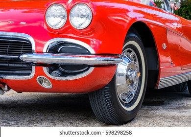 Miami, Florida USA - March 5, 2017: Close up view of a beautifully restored 1962 Chevrolet Corvette roadster at a public car show.