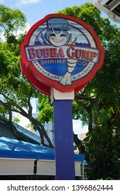 Miami, Florida, USA - May 11, 2019: Bubba Gump restaurant chain inspired by the 1994 film Forrest Gump, at Bayside Marketplace Mall, Downtown, Miami.