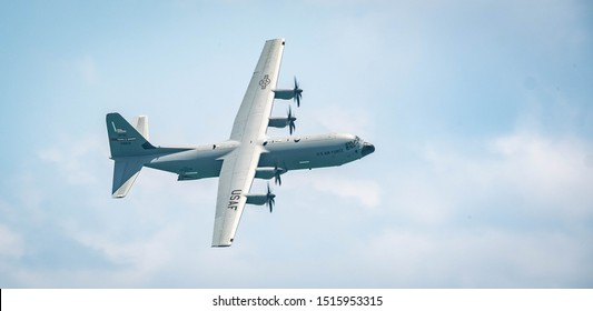 Miami, Florida / USA - May 25, 2019 - A  C130 military transport plane during the Miami Beach Air and Sea Show