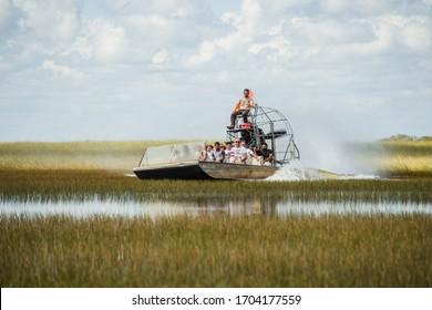 Miami, Florida, USA - November 1, 2019: Airboat tour at the National Park Everglades