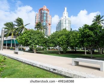MIAMI, FLORIDA, USA, - OCTOBER 13, 2016: South Pointe Park in Miami