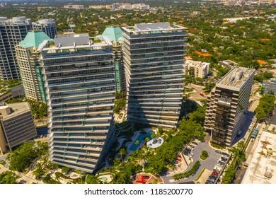 MIAMI, FLORIDA, USA - SEPTEMBER 15, 2018: Grove at Grand Bay Condominium Coconut Grove Miami Florida