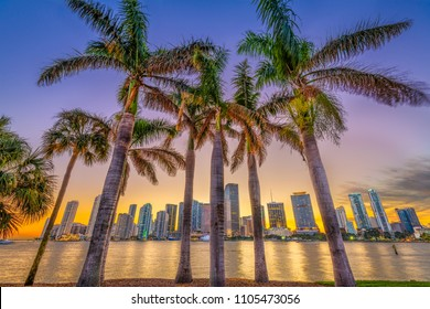 Miami, Florida, USA skyline on Bisayne Bay at dusk.