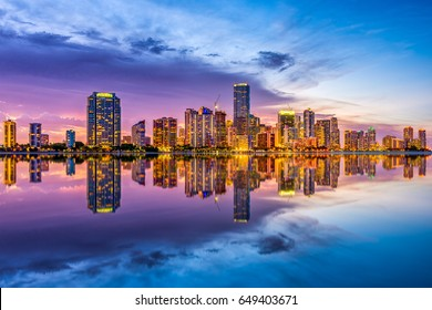 Miami, Florida, USA skyline on Biscayne Bay.