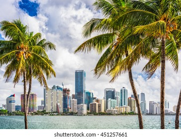 Miami, Florida, USA tropical downtown skyline.