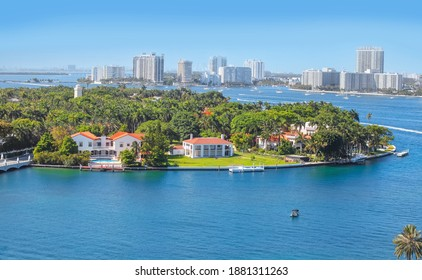 Miami, Florida-July 3,2017: Star Island is a neighborhood in the city of Miami Beach on a man-made island in Biscayne Bay, Florida, United States.