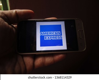 Miami, Florida/USA - April 11, 2019: American Express logo on the cell phone screen. It is a United States financial services company.