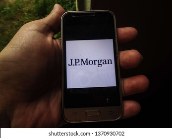 Miami, Florida/USA - April 11, 2019:  Logo J. P. Morgan Chase on the smartphone screen. It is the world's leading financial services institution and the third largest company in the world.