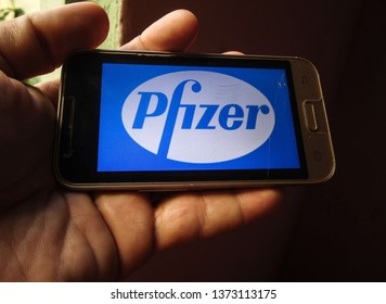 Miami, Florida/USA - April 11, 2019:  Pfizer logo on smartphone screen. It is one of the largest pharmaceutical companies in the world and pioneered the production of antibiotics.