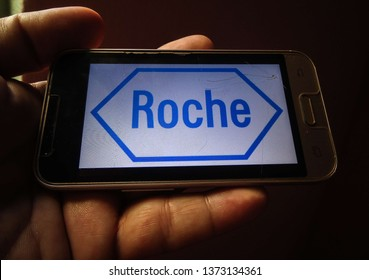 Miami, Florida/USA - April 11, 2019:  Roche logo on smartphone screen. It is a Swiss company that manufactures pharmaceuticals and whose head office is located in Basel, Switzerland.