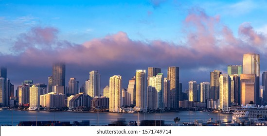 Miami, Florida,USA - December 31, 2017: Skyline of the Miami, Florida, view from the sea port.