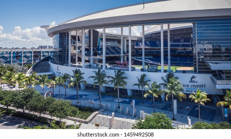Miami, Florida/USA - July 23, 2019: Aerial view on Marlins Stadium is a baseball park and current home of the Miami Marlins MLB league