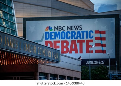 Miami, Florida/USA - June 27, 2019: Big NBC news sign for the first 2019 Democratic debate on the Adrienne Arsht Center