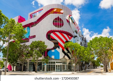 Miami, Florida/USA - May 02, 2020: Museum Parking garage in the heart of the Miami Design District.