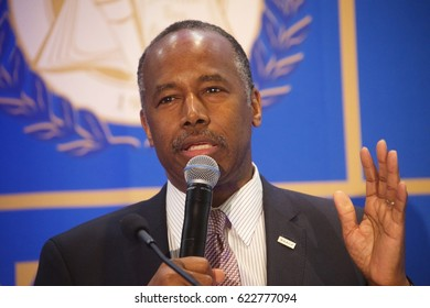 Miami, FL/USA - April 13, 2017:  US HUD Secretary Dr. Ben Carson delivers his message on the importance of education and housing at the NAACP National Fair Housing Month Forum.