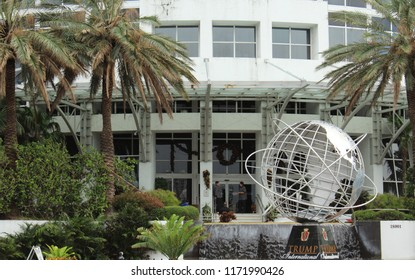 Miami, FL/USA: Nov 29, 2017 – Trump International Beach Resort main entrance to resort with 347 units of sales and rentals on Collins Avenue in Sunny Isles Beach outside Miami FL.