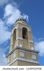 Miami, FL/USA: Nov 30, 2017 – The Cathedral of St. Mary tower capped with glazed tile dome features a consecrated bell weighing more than 2 tons. Exterior walls are stucco. Tower is 12 stories tall.