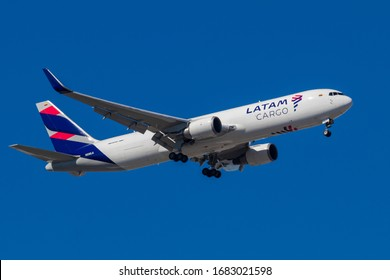Miami, FL/USA-01/05/2020: A LATAM Cargo Boeing 787 aircraft on final approach to Miami International Airport.