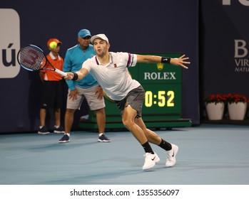 MIAMI GARDENS, FLORIDA - MARCH 27, 2019: Professional tennis player Borna Coric of Croatia in action during his quarterfinal match at 2019 Miami Open at the Hard Rock Stadium in Miami Gardens, Florida