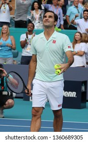 MIAMI GARDENS, FLORIDA - MARCH 27, 2019: Grand Slam champion Roger Federer of Switzerland celebrates victory after his round of 16 match at 2019 Miami Open at the Hard Rock Stadium in Miami Gardens