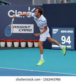 MIAMI GARDENS, FLORIDA - MARCH 27, 2019: Professional tennis player Daniil Medvedev in action during his round of 16 match at 2019 Miami Open at the Hard Rock Stadium in Miami Gardens, Florida