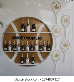 MIAMI GARDENS, FLORIDA - MARCH 27, 2019:  Moet and Chandon champagne presented at the 2019 Miami Open at the Hard Rock Stadium in Miami. Moet and Chandon is the official champagne of the Miami Open