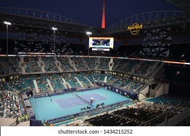 MIAMI GARDENS, FLORIDA - MARCH 27, 2019: Hard Rock Stadium during 2019 Miami Open in Miami Gardens, Florida