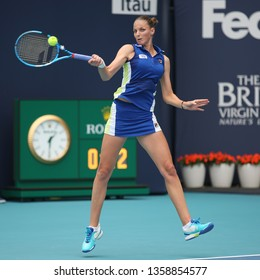 MIAMI GARDENS, FLORIDA - MARCH 30, 2019: Professional tennis player Karolina Pliskova of Czech Republic in action during her 2019 Miami Open final match at the Hard Rock Stadium in Miami Gardens