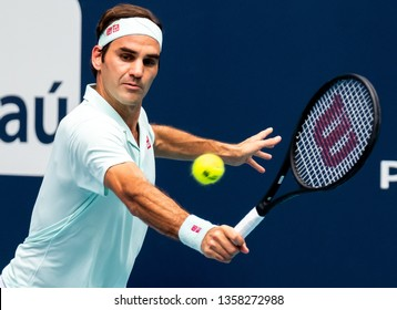 Miami Gardens, Florida USA March 31, 2019 - Roger Federer of Switzerland returning a point at the Miami Open at the Hard Rock Stadium on March 31, 2019 in Miami Gardens, Florida