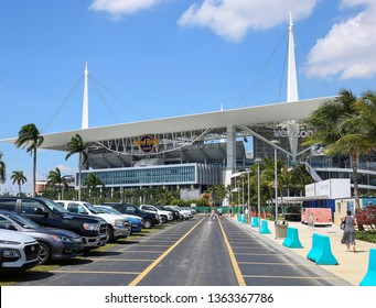 MIAMI GARDENS, FLORIDA, USA - MARCH:  Hard Rock Stadium, the Hard Rock will be the venue for the 54th Super Bowl as seen on March 27, 2019.
