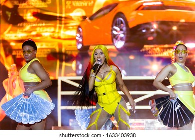 Miami Gardens, Florida/USA - February 01, 2020: Vewtopia X Superfest Miami Live 2020. Saturday Live Performances in honor of the Super Bowl LIV. Singer Cardi B perfoming on main stage with dance crew