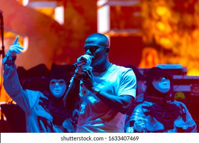 Miami Gardens, Florida/USA - February 01, 2020: Vewtopia X Superfest Miami Live 2020. Saturday Live Performances in honor of the Super Bowl LIV. Singer DaBaby performing on main stage with dance crew