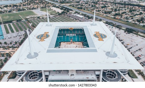 Miami Gardens, Florida/USA - June 18, 2019: Aerial view, drone photography of Hard Rock Stadium located in Miami Gardens. Home stadium of the Miami Dolphins. Under construction for the next NFL season