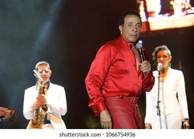 Miami Gardens, Florida/USA - March 17, 2017: Smokey Robinson on stage at Jazz in the Gardens 2018. Jazz in the Gardens is a two day music festival in Miami Gardens FL.