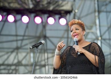 Miami Gardens, FL/USA - 03/18/2018: Avery Sunshine on stage at Jazz in the Gardens 2018. Jazz in the Gardens is a two day music festival in Miami Gardens FL.