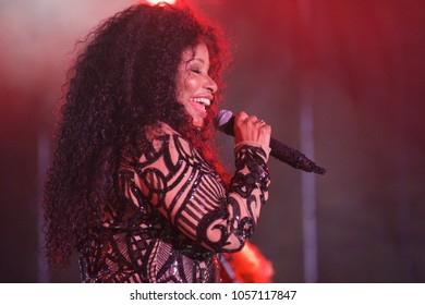 Miami Gardens, FL/USA - 03/18/2018: Chaka Khan on stage at Jazz in the Gardens 2018. Jazz in the Gardens is a two day music festival in Miami Gardens FL.
