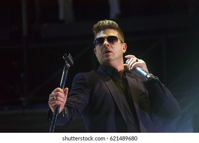 Miami Gardens, FL/USA - March 18, 2017:  Robin Thicke on stage at Jazz in the Gardens. JITG is a 2 Day music festival that takes place at Hard Rock Stadium in Miami Gardens, FL