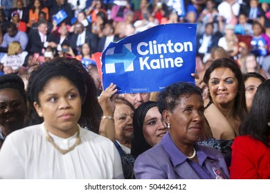 Miami Gardens, FL/USA - October 20, 2016: Hillary Clinton supporters on the Florida Memorial University campus. They were waiting for President Obama to take the stage.