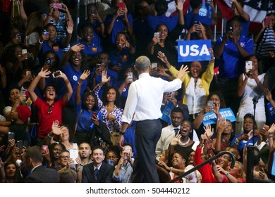Miami Gardens, FL/USA - October 20, 2016: President Barack Obama waves to an excited audience at Florida Memorial College.