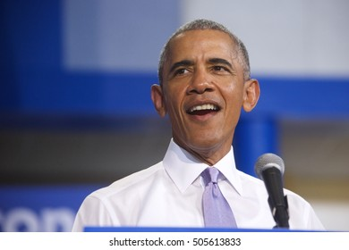 Miami Gardens, FL/USA - October 20, 2016: President Barack Obama speaks to an excited audience at Florida Memorial College. President Obama was campaigning for the Hillary - Kaine Democratic ticket.
