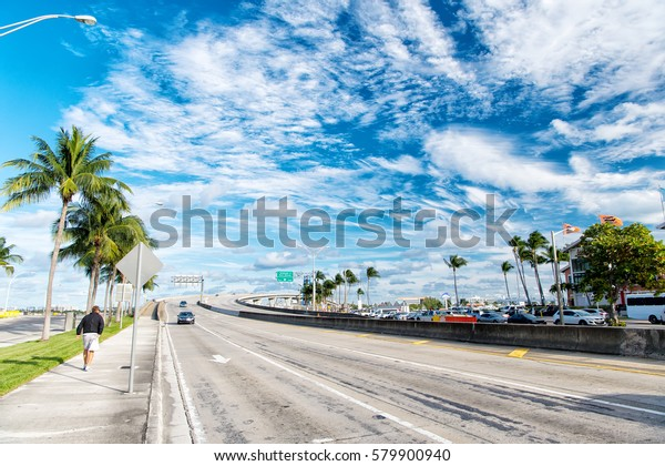 Miami Highway Public Road Roadway Transport Stock Photo