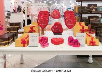 MIAMI - January 14, 2018: Godiva chocolates placed in the mall shelves
