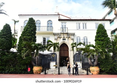 MIAMI - JANUARY 22, 2018: The Villa, Casa Casuarina is a property previously owned by Italian fashion impresario Gianni Versace at Ocean Drive in the Miami Beach Architectural District, Florida.