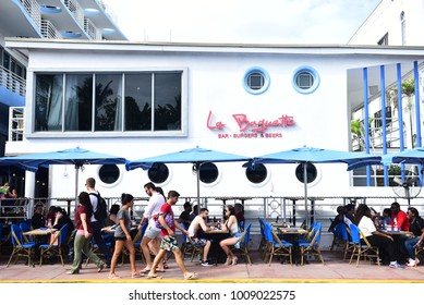 MIAMI - JANUARY 22, 2018: World famous South Beach is one of the most popular tourist destination in Miami, FL.