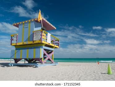 MIAMI - JANUARY 3:The coastal resort of Miami Beach,FL on january 3,2014.Miami Beach has been one of America's pre-eminent beach resorts since the early 20th century