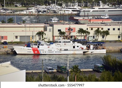 MIAMI - JANUARY 5: US Coast Guard vessels prepares for patrol from its home base in Miami on January 5, 2017. Vessels perform routine partol of the Florida Straits