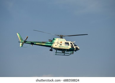 MIAMI - MARCH 27: Miami Dade County police helicopter departs on patrol over the city on March 27, 2017 from its home base Opa Locka Airport
