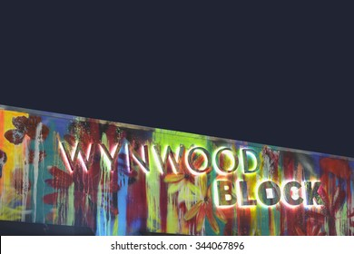 MIAMI - OCTOBER 28: Stock image of the Wynwood Block sign at Wynwood Miami which is an artistic neighborhood with art murals on building walls and tourist destination October 28, 2015 in Miami FL