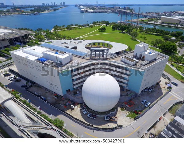 MIAMI - OCTOBER 5: Aerial photo of the Patricia and Phillip Frost Museum of Science near completion at Museum Park Downtown Miami by the Macarthur Causeway October 5, 2016 in Miami FL, USA